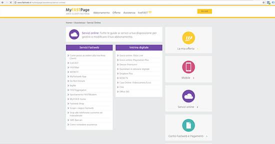 Fastweb pagina servizi commerciali